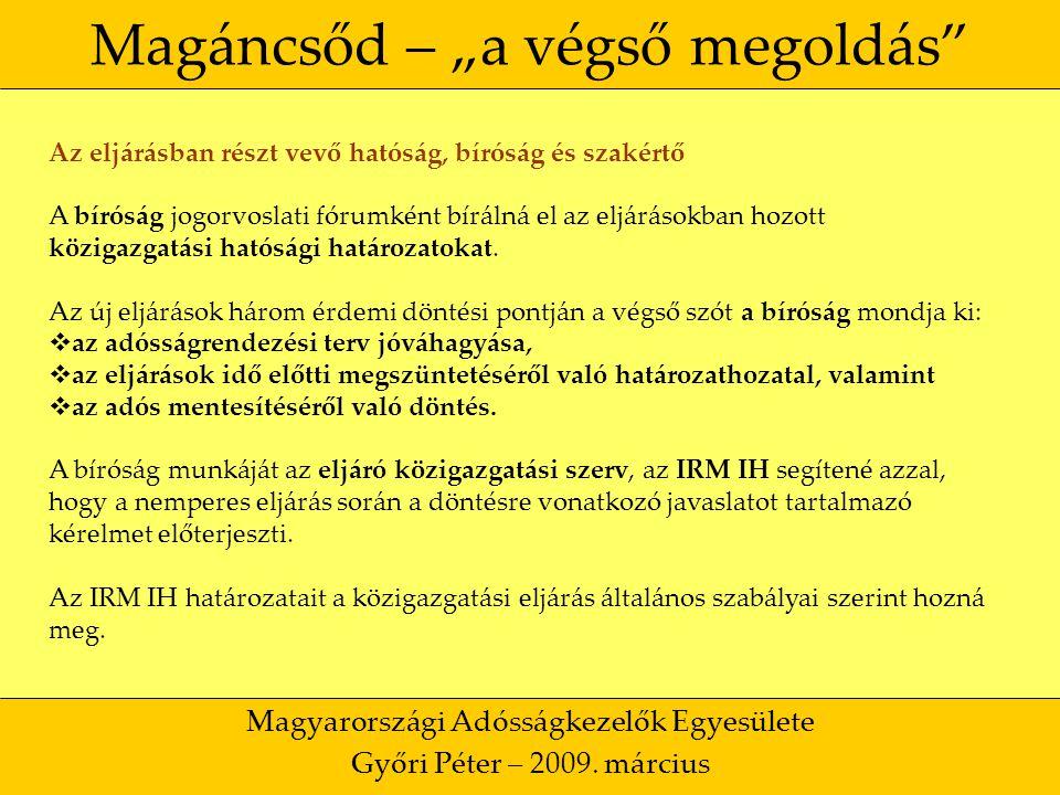 """39 Magáncsőd – """"a végső megoldás Magyarországi Adósságkezelők Egyesülete Győri Péter – 2009."""