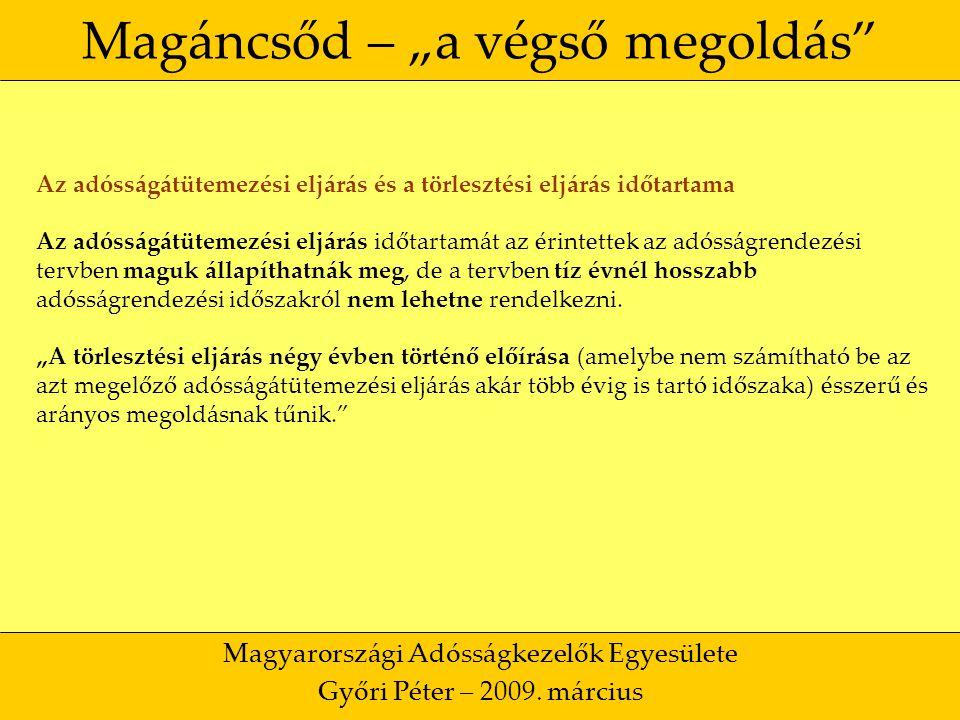 """41 Magáncsőd – """"a végső megoldás Magyarországi Adósságkezelők Egyesülete Győri Péter – 2009."""