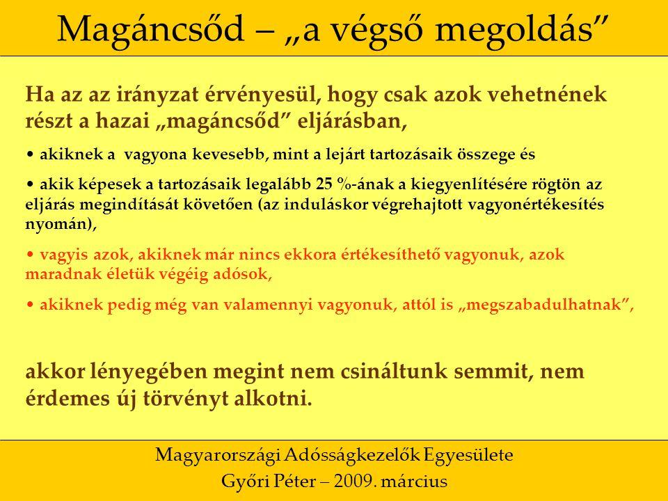 """46 Magáncsőd – """"a végső megoldás Magyarországi Adósságkezelők Egyesülete Győri Péter – 2009."""