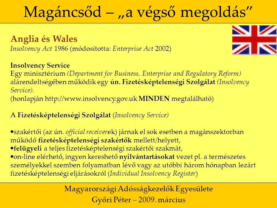 """6 Magáncsőd – """"a végső megoldás Magyarországi Adósságkezelők Egyesülete Győri Péter – 2009."""
