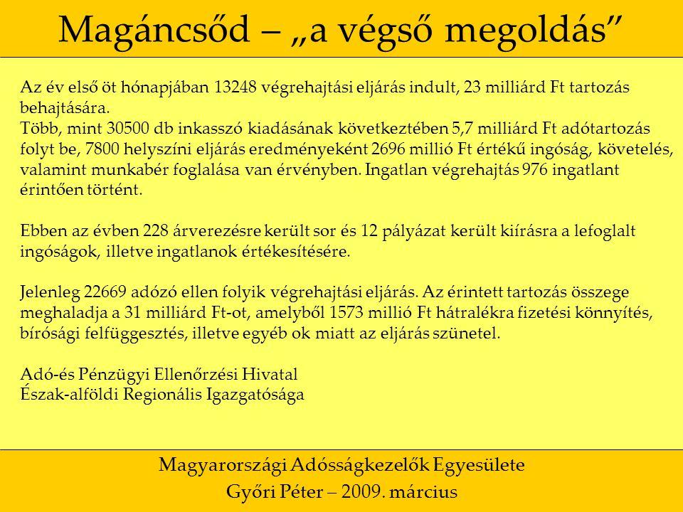 """50 Magáncsőd – """"a végső megoldás Magyarországi Adósságkezelők Egyesülete Győri Péter – 2009."""