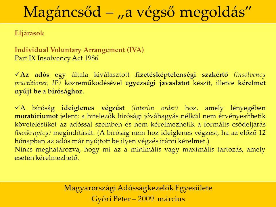 """37 Magáncsőd – """"a végső megoldás Magyarországi Adósságkezelők Egyesülete Győri Péter – 2009."""