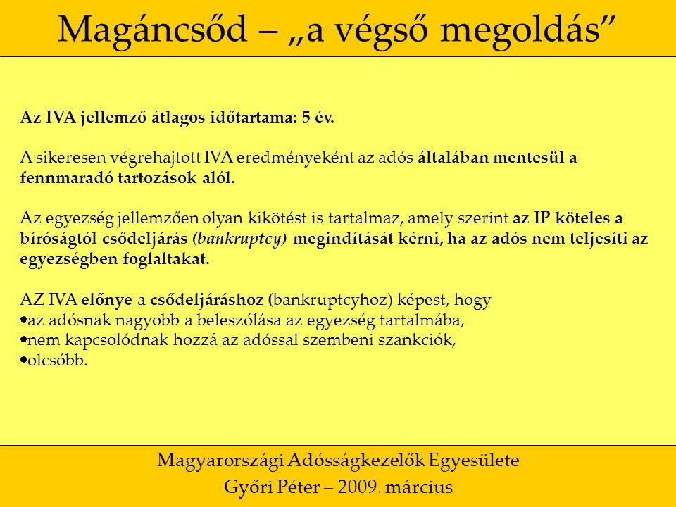 """8 Magáncsőd – """"a végső megoldás Magyarországi Adósságkezelők Egyesülete Győri Péter – 2009."""
