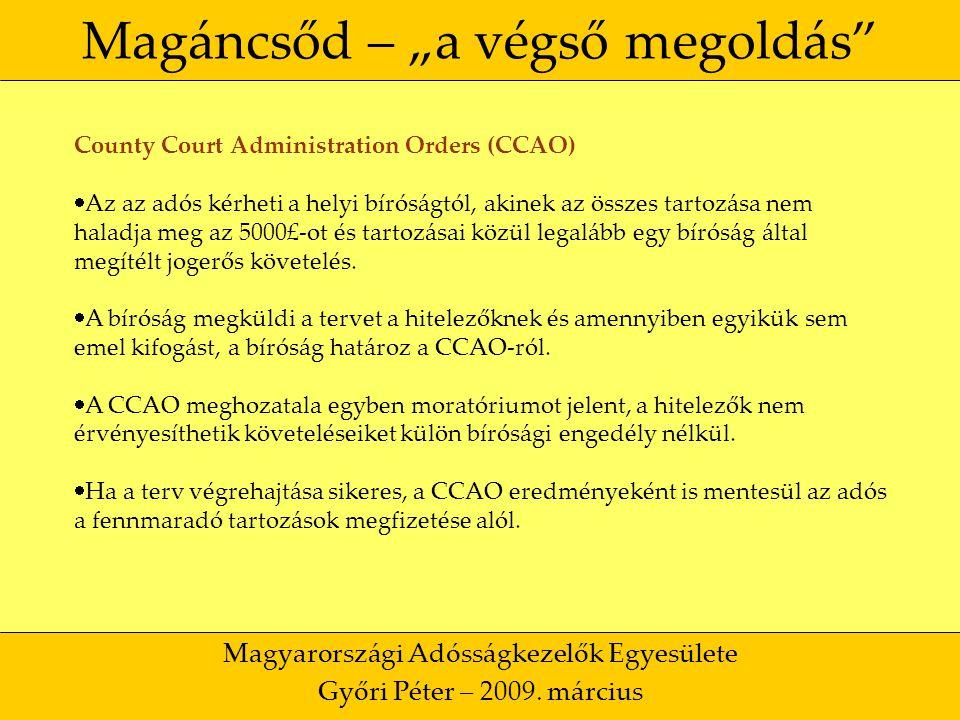 """9 Magáncsőd – """"a végső megoldás Magyarországi Adósságkezelők Egyesülete Győri Péter – 2009."""