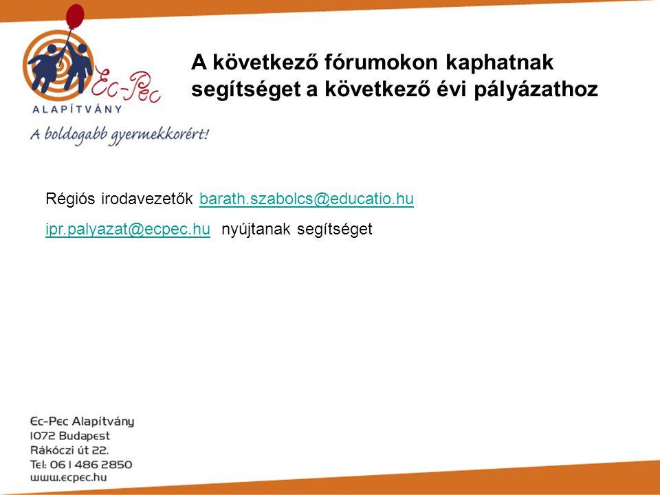A következő fórumokon kaphatnak segítséget a következő évi pályázathoz Régiós irodavezetők barath.szabolcs@educatio.hubarath.szabolcs@educatio.hu ipr.