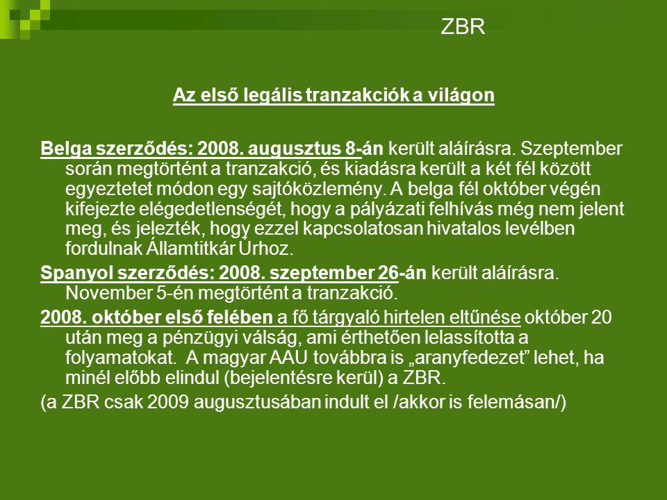 Az első legális tranzakciók a világon Belga szerződés: 2008.