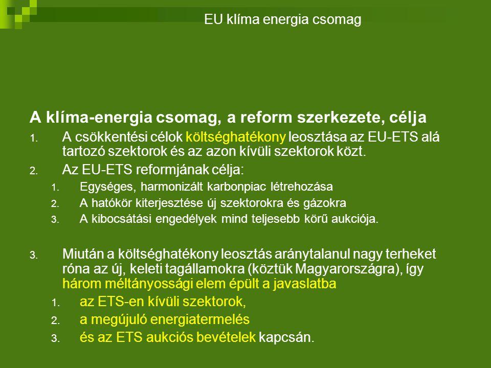 A klíma-energia csomag, a reform szerkezete, célja 1.