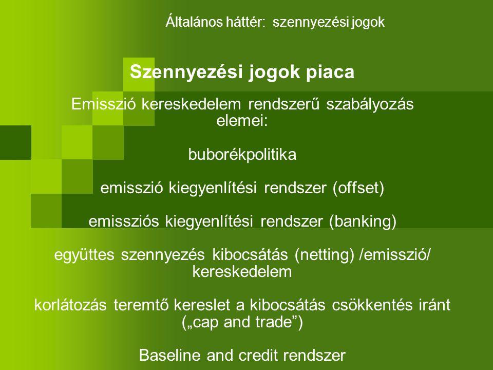 """Szennyezési jogok piaca Emisszió kereskedelem rendszerű szabályozás elemei: buborékpolitika emisszió kiegyenlítési rendszer (offset) emissziós kiegyenlítési rendszer (banking) együttes szennyezés kibocsátás (netting) /emisszió/ kereskedelem korlátozás teremtő kereslet a kibocsátás csökkentés iránt (""""cap and trade ) Baseline and credit rendszer Általános háttér: szennyezési jogok"""