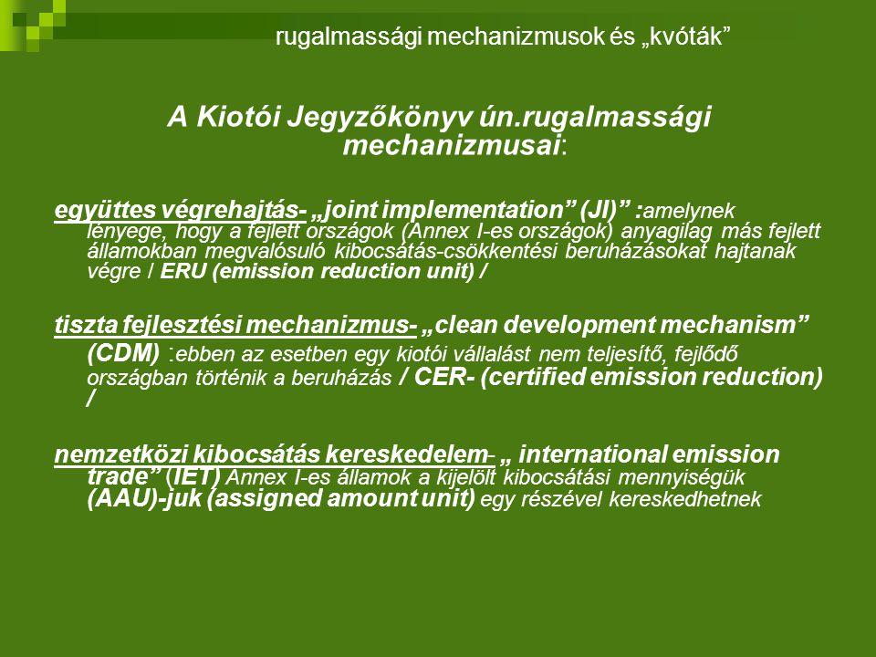 """A Kiotói Jegyzőkönyv ún.rugalmassági mechanizmusai: együttes végrehajtás- """"joint implementation (JI) : amelynek lényege, hogy a fejlett országok (Annex I-es országok) anyagilag más fejlett államokban megvalósuló kibocsátás-csökkentési beruházásokat hajtanak végre / ERU (emission reduction unit) / tiszta fejlesztési mechanizmus- """"clean development mechanism (CDM) : ebben az esetben egy kiotói vállalást nem teljesítő, fejlődő országban történik a beruházás / CER- (certified emission reduction) / nemzetközi kibocsátás kereskedelem- """" international emission trade (IET) Annex I-es államok a kijelölt kibocsátási mennyiségük (AAU)-juk (assigned amount unit) egy részével kereskedhetnek rugalmassági mechanizmusok és """"kvóták"""