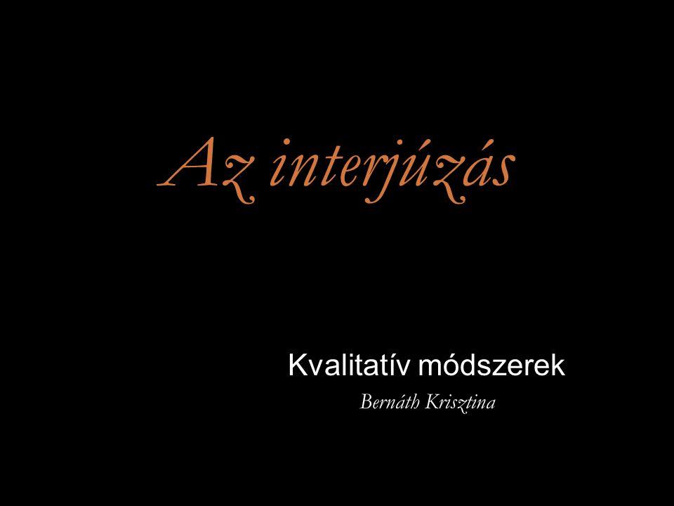 Az interjúzás Kötelező irodalom  Jennifer Mason Kvalitatív kutatás Budapest: Jószöveg Műhely Kiadó, 2005.