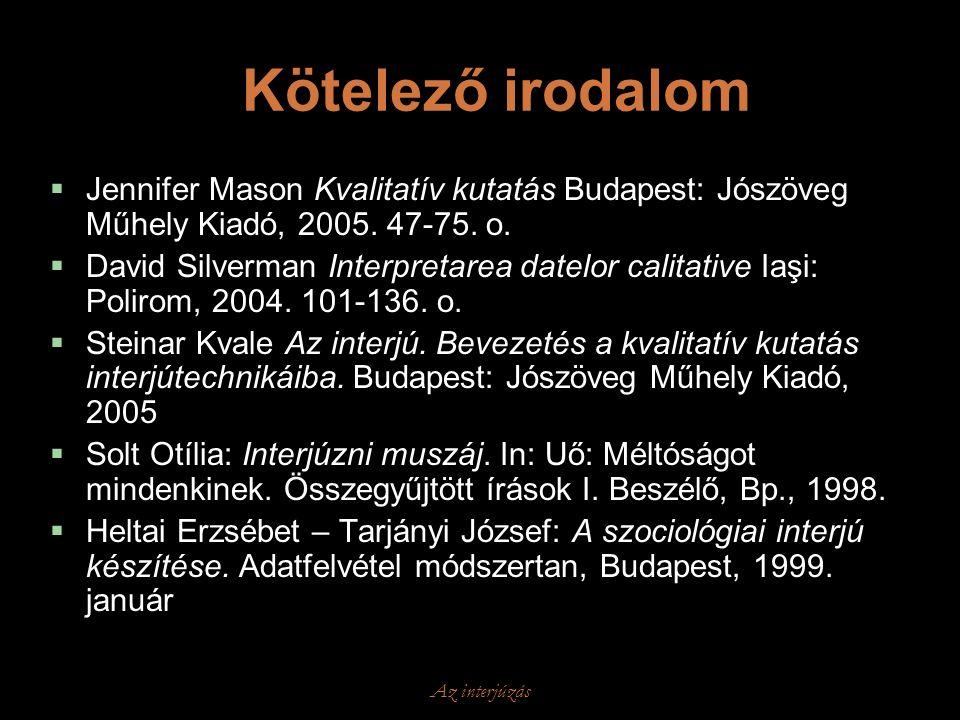 Az interjúzás Kötelező irodalom  Jennifer Mason Kvalitatív kutatás Budapest: Jószöveg Műhely Kiadó, 2005. 47-75. o.  David Silverman Interpretarea d