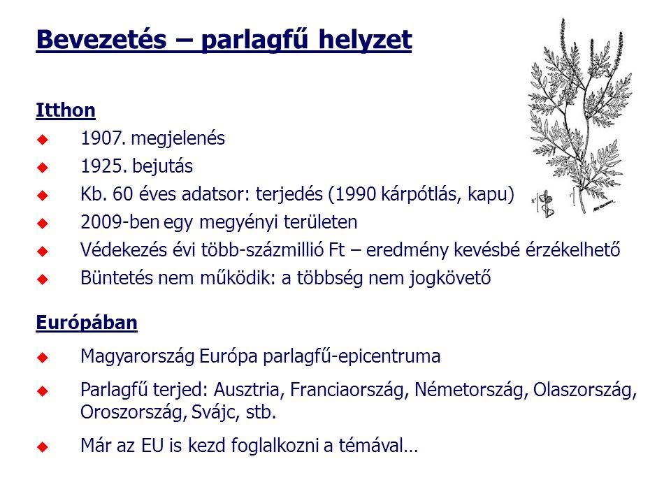 Bevezetés – parlagfű helyzet Itthon  1907. megjelenés  1925.