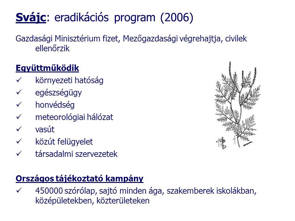 Svájc: eradikációs program (2006) Gazdasági Minisztérium fizet, Mezőgazdasági végrehajtja, civilek ellenőrzik Együttműködik  környezeti hatóság  egészségügy  honvédség  meteorológiai hálózat  vasút  közút felügyelet  társadalmi szervezetek Országos tájékoztató kampány  450000 szórólap, sajtó minden ága, szakemberek iskolákban, középületekben, közterületeken
