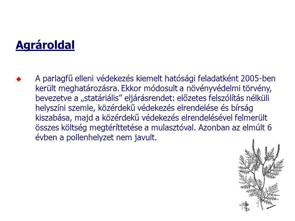 Agrároldal  A parlagfű elleni védekezés kiemelt hatósági feladatként 2005-ben került meghatározásra.