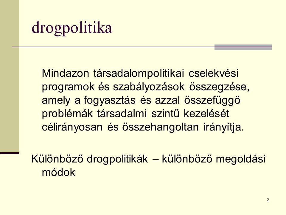 2 drogpolitika Mindazon társadalompolitikai cselekvési programok és szabályozások összegzése, amely a fogyasztás és azzal összefüggő problémák társada