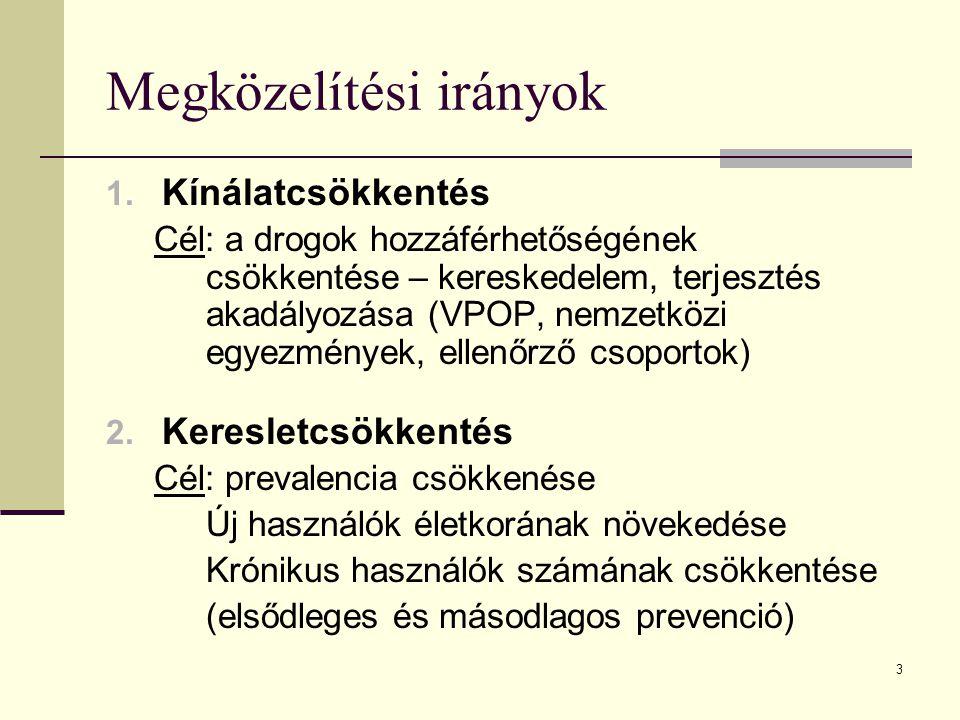 3 Megközelítési irányok 1. Kínálatcsökkentés Cél: a drogok hozzáférhetőségének csökkentése – kereskedelem, terjesztés akadályozása (VPOP, nemzetközi e