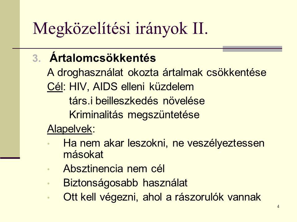 5 Drogpolitikai irányzatok 1.Nulla-tolerancia modell (kriminalizációs) Drogfogy.
