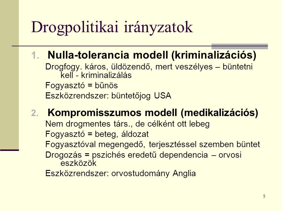5 Drogpolitikai irányzatok 1. Nulla-tolerancia modell (kriminalizációs) Drogfogy. káros, üldözendő, mert veszélyes – büntetni kell - kriminalizálás Fo