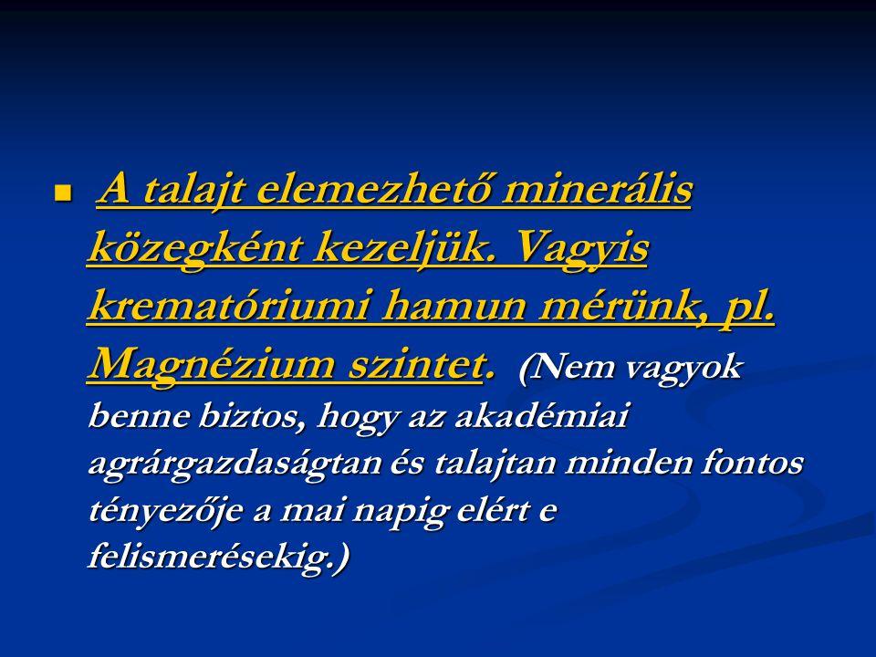  A talajt elemezhető minerális közegként kezeljük. Vagyis krematóriumi hamun mérünk, pl. Magnézium szintet. (Nem vagyok benne biztos, hogy az akadémi