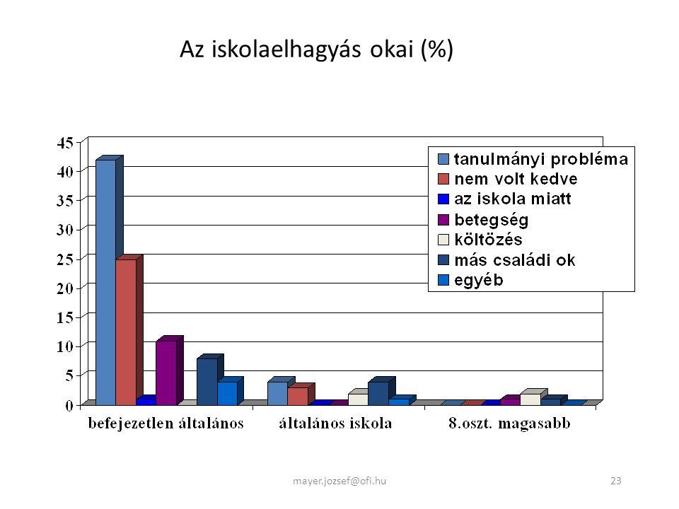 23 Az iskolaelhagyás okai (%) mayer.jozsef@ofi.hu