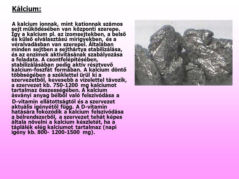 Kálcium: A kalcium ionnak, mint kationnak számos sejt működésében van központi szerepe. Így a kalcium pl. az izomsejtekben, a belső és külső elválaszt