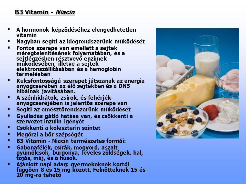 B3 Vitamin - Niacin B3 Vitamin - Niacin   A hormonok képződéséhez elengedhetetlen vitamin   Nagyban segíti az idegrendszerünk működését   Fontos