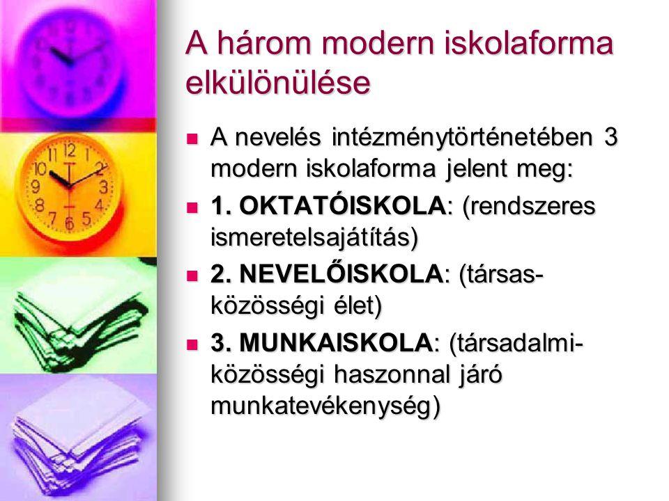 A három modern iskolaforma elkülönülése  A nevelés intézménytörténetében 3 modern iskolaforma jelent meg:  1.