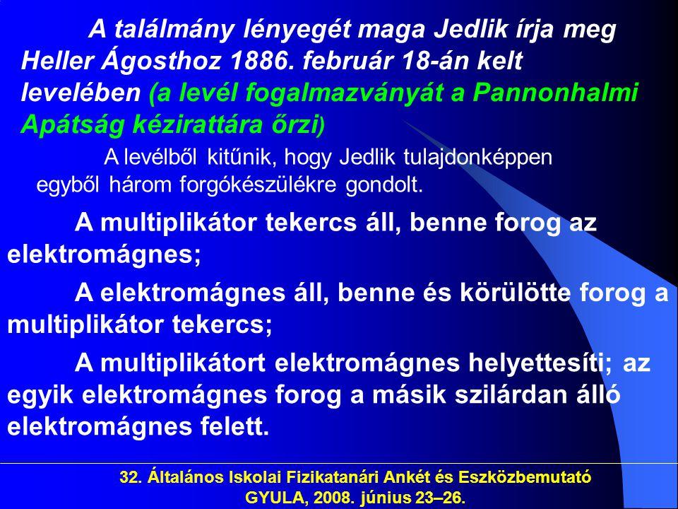 32. Általános Iskolai Fizikatanári Ankét és Eszközbemutató GYULA, 2008. június 23–26. A találmány lényegét maga Jedlik írja meg Heller Ágosthoz 1886.