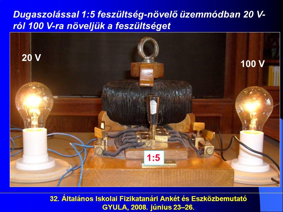 32. Általános Iskolai Fizikatanári Ankét és Eszközbemutató GYULA, 2008. június 23–26. Dugaszolással 1:5 feszültség-növelő üzemmódban 20 V- ról 100 V-r