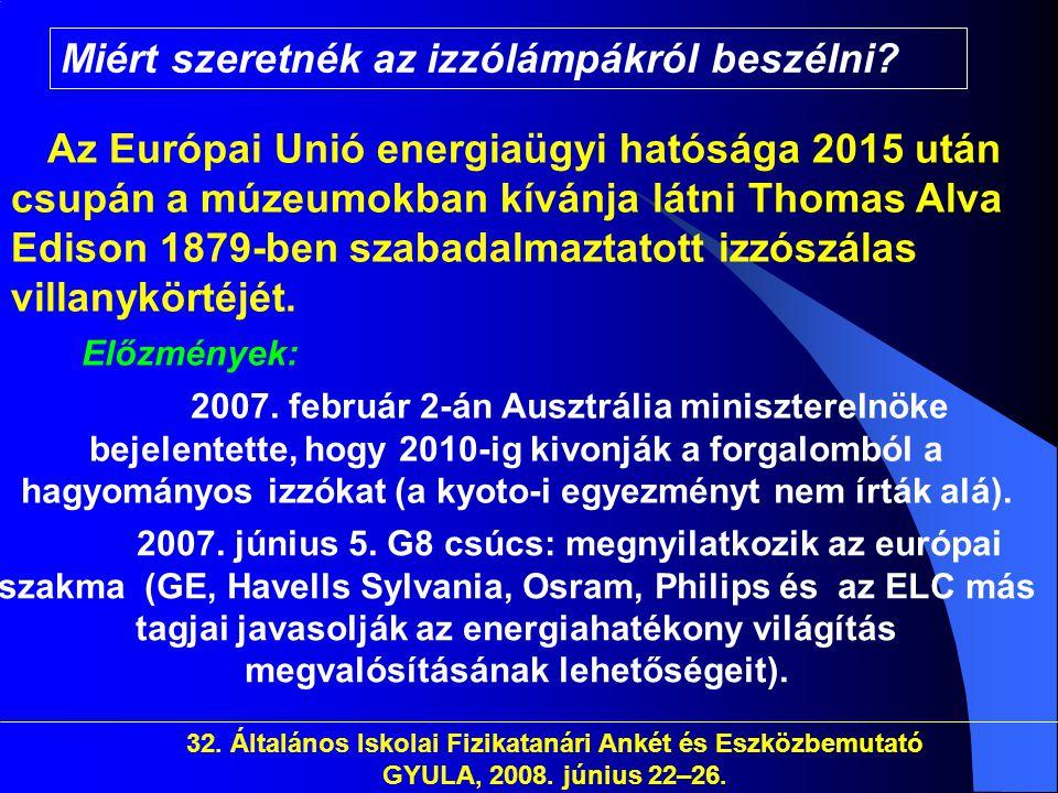 32. Általános Iskolai Fizikatanári Ankét és Eszközbemutató GYULA, 2008. június 22–26. Miért szeretnék az izzólámpákról beszélni? Az Európai Unió energ