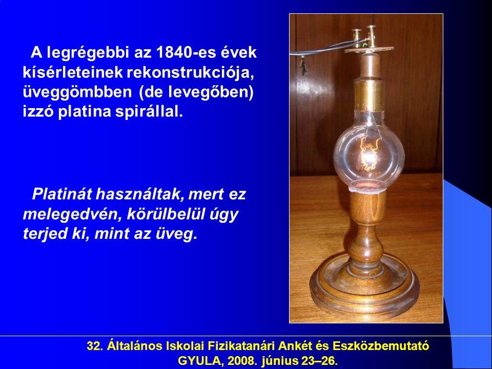 32. Általános Iskolai Fizikatanári Ankét és Eszközbemutató GYULA, 2008. június 23–26. A legrégebbi az 1840-es évek kísérleteinek rekonstrukciója, üveg