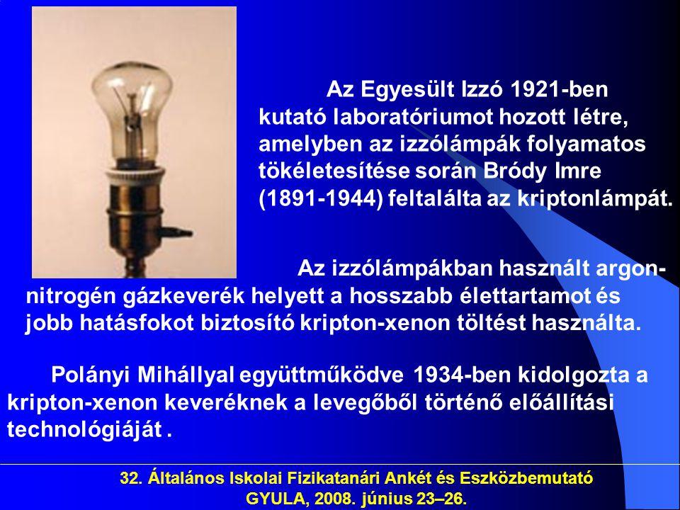 32. Általános Iskolai Fizikatanári Ankét és Eszközbemutató GYULA, 2008. június 23–26. Az Egyesült Izzó 1921-ben kutató laboratóriumot hozott létre, am