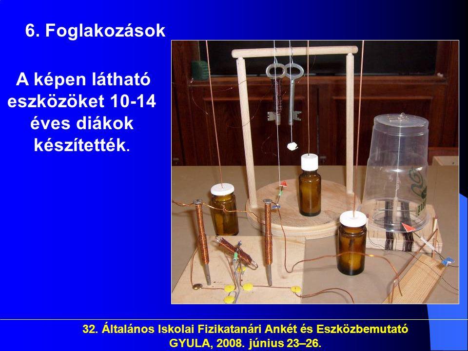 32. Általános Iskolai Fizikatanári Ankét és Eszközbemutató GYULA, 2008. június 23–26. 6. Foglakozások A képen látható eszközöket 10-14 éves diákok kés