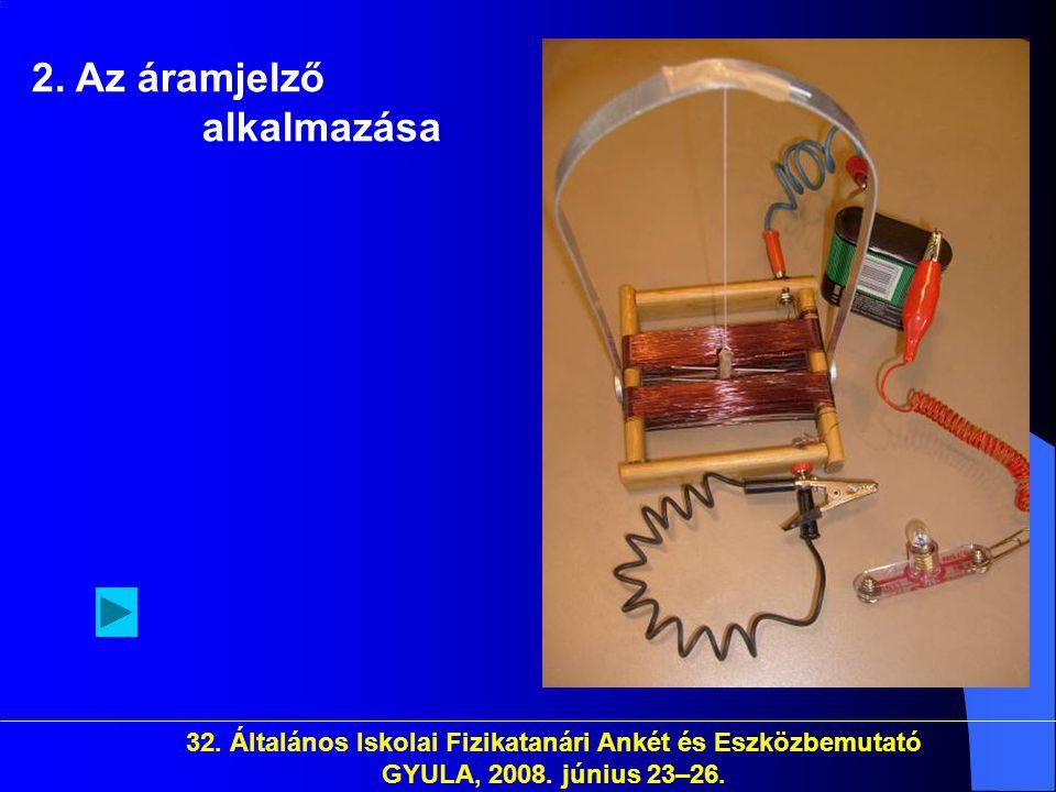 32. Általános Iskolai Fizikatanári Ankét és Eszközbemutató GYULA, 2008. június 23–26. 2. Az áramjelző alkalmazása