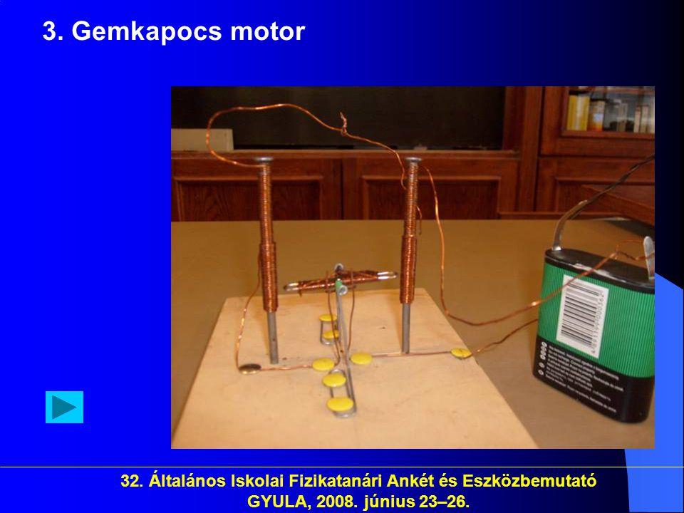 32. Általános Iskolai Fizikatanári Ankét és Eszközbemutató GYULA, 2008. június 23–26. 3. Gemkapocs motor