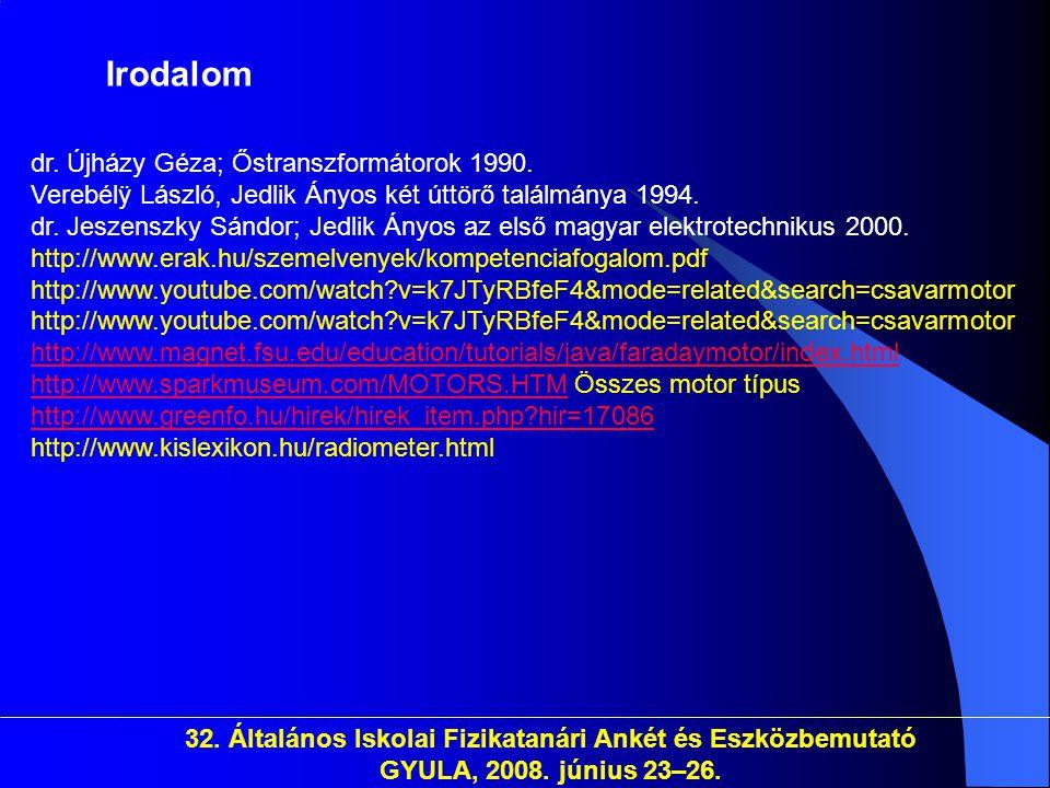 32. Általános Iskolai Fizikatanári Ankét és Eszközbemutató GYULA, 2008. június 23–26. dr. Újházy Géza; Őstranszformátorok 1990. Verebélÿ László, Jedli
