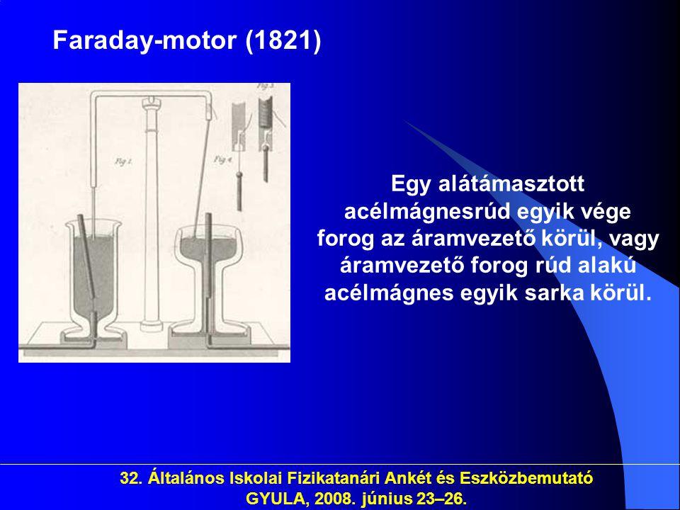 32. Általános Iskolai Fizikatanári Ankét és Eszközbemutató GYULA, 2008. június 23–26. Faraday-motor (1821) Egy alátámasztott acélmágnesrúd egyik vége