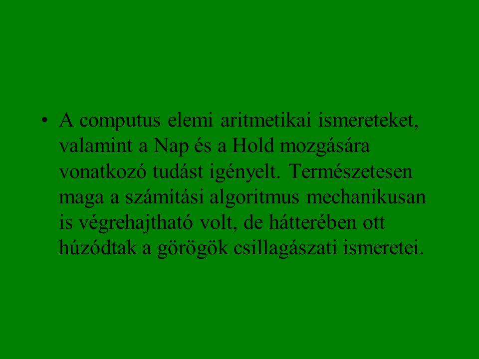 •A computus elemi aritmetikai ismereteket, valamint a Nap és a Hold mozgására vonatkozó tudást igényelt. Természetesen maga a számítási algoritmus mec