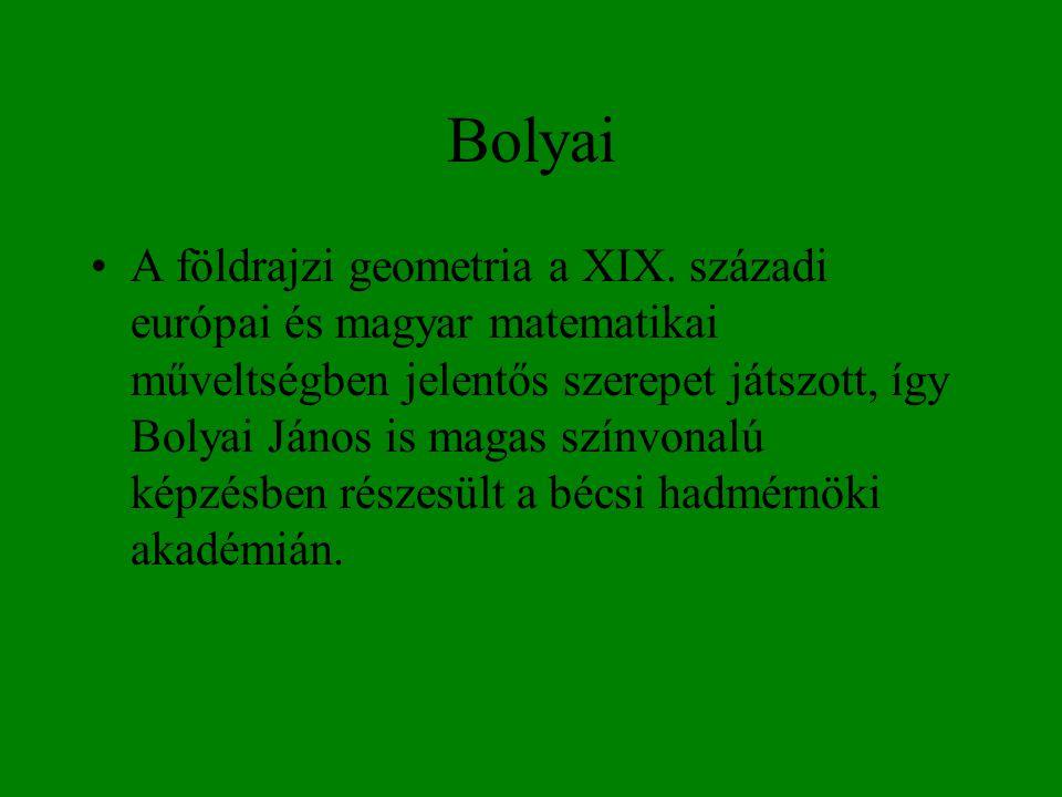 Bolyai •A földrajzi geometria a XIX. századi európai és magyar matematikai műveltségben jelentős szerepet játszott, így Bolyai János is magas színvona