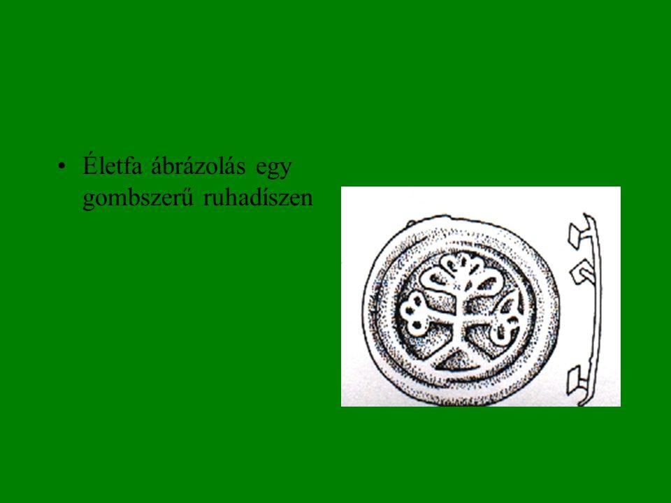 •Életfa ábrázolás egy gombszerű ruhadíszen