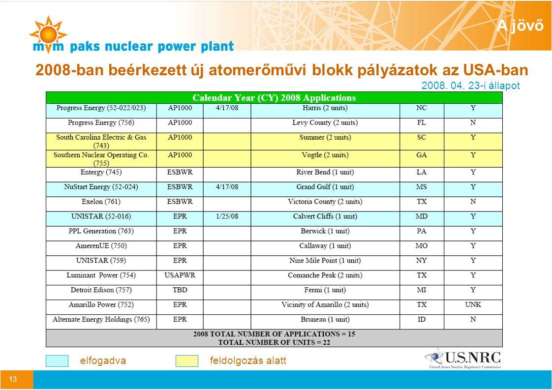 13 2008-ban beérkezett új atomerőművi blokk pályázatok az USA-ban 2008.