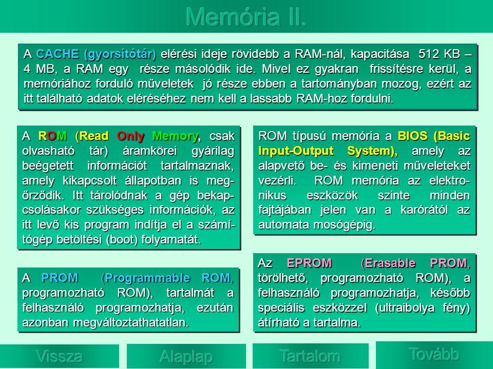 A ROM (Read Only Memory, csak olvasható tár) áramkörei gyárilag beégetett információt tartalmaznak, amely kikapcsolt állapotban is meg- őrződik. Itt t