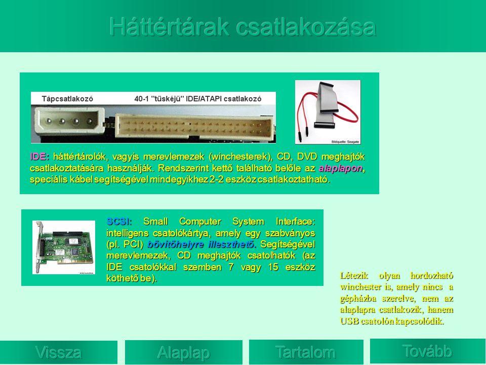 IDE: háttértárolók, vagyis merevlemezek (winchesterek), CD, DVD meghajtók csatlakoztatására használják. Rendszerint kettő található belőle az alaplapo