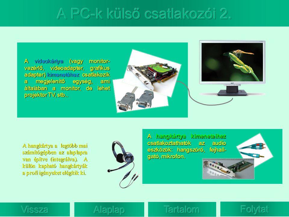 A videokártya (vagy monitor- vezérlő, videoadapter, grafikus adapter) kimenetéhez csatlakozik a megjelenítő egység, ami általában a monitor, de lehet