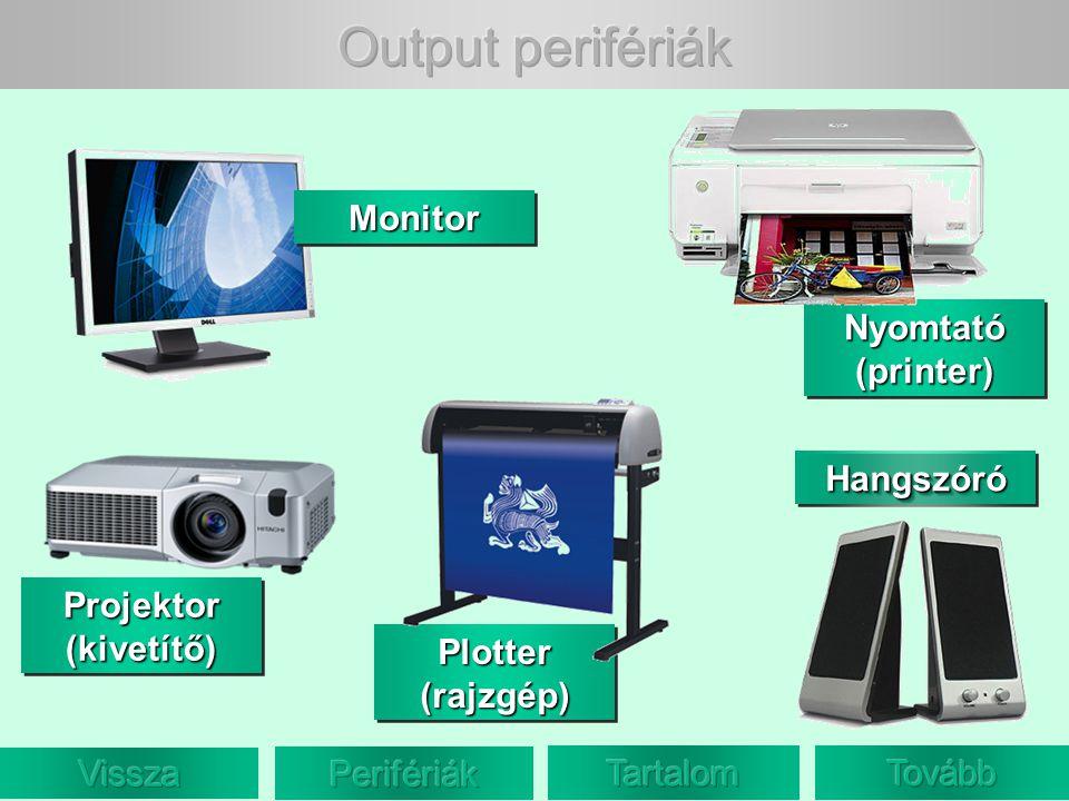 Nyomtató (printer) Nyomtató (printer) Nyomtató (printer) Nyomtató (printer) Plotter (rajzgép) Projektor (kivetítő) HangszóróHangszóró Monitor