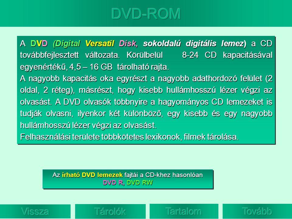 A DVD (Digital Versatil Disk, sokoldalú digitális lemez) a CD továbbfejlesztett változata. Körülbelül 8-24 CD kapacitásával egyenértékű, 4,5 – 16 GB t