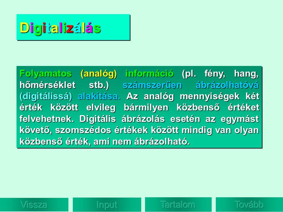 DigitalizálásDigitalizálásDigitalizálásDigitalizálás DigitalizálásDigitalizálásDigitalizálásDigitalizálás Folyamatos (analóg) információ (pl. fény, ha