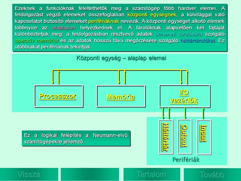 Ezeknek a funkcióknak feleltethetők meg a számítógép főbb hardver elemei. A feldolgozást végző elemeket összefoglalóan központi egységnek, a külvilágg