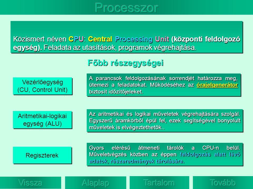 Közismert néven CPU: Central Processing Unit (központi feldolgozó egység). Feladata az utasítások, programok végrehajtása. Vezérlőegység (CU, Control