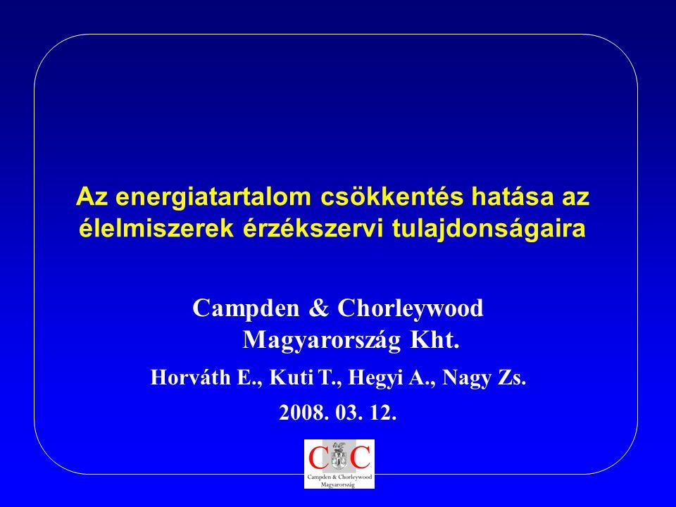 Az energiatartalom csökkentés hatása az élelmiszerek érzékszervi tulajdonságaira Campden & Chorleywood Magyarország Kht. Horváth E., Kuti T., Hegyi A.
